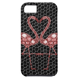Modern Pink and Black Flamingo Abstract iPhone 5 Cover