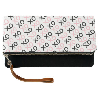 Modern Pink and Black Hugs and Kisses X O Pattern Clutch