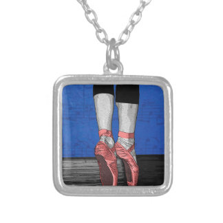 Modern Pink and Blue Dancing Ballerina - Point Sh Silver Plated Necklace