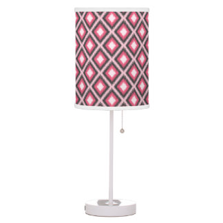 Modern Pink and Gray Ikat Table Lamp