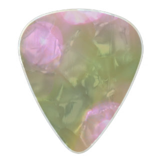Modern Pink and Green Circle Pearl Celluloid Guitar Pick