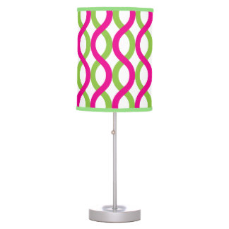 Modern Pink and Green Spiral Waves Desk Lamp