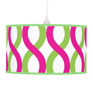 Modern Pink and Green Spiral Waves Hanging Lamp