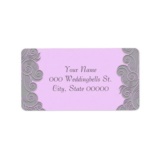 Modern Pink and Grey Swirls Wedding Address Labels
