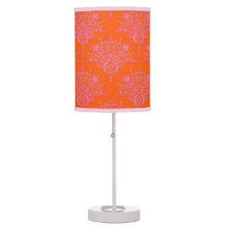 Modern Pink and Orange Bright Floral Damask Table Lamp