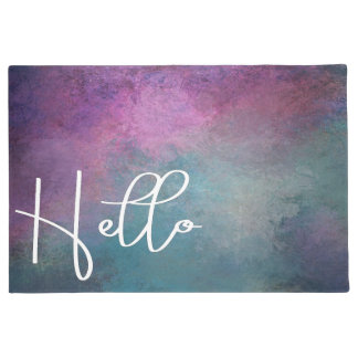Modern Pink and Teal Abstract Hello Doormat