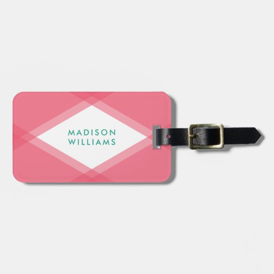 Modern Pink and Teal Layered Geometric Luggage Tag