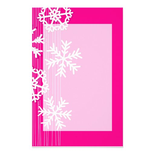 Modern pink and white Christmas snowflakes Stationery Paper