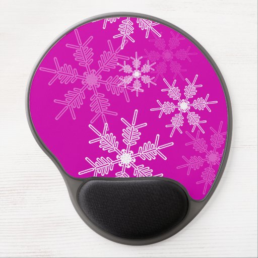 Modern pink and white Christmas white snowflakes Gel Mouse Pad
