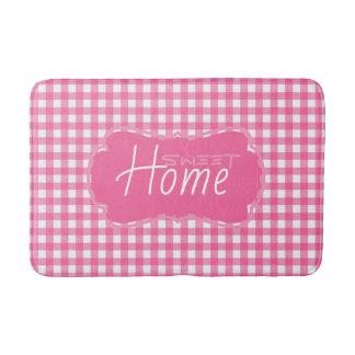 Modern Pink And White Pattern Personalized Bath Mat