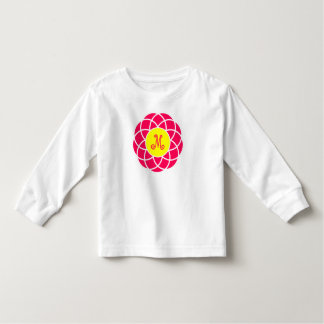 Modern Pink and Yellow Flower Monogram Toddler T-shirt