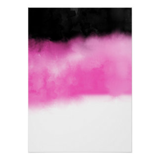 Modern Pink Black Watercolor Block Stripes White Poster