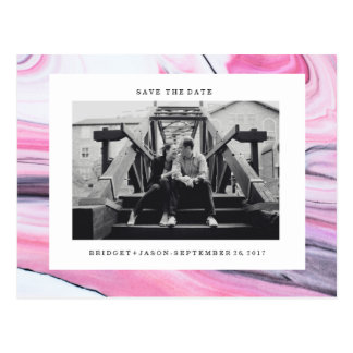 Modern pink black white marble Photo SAVE THE DATE Postcard