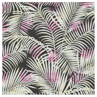Modern pink black white tropical palm tree floral fabric
