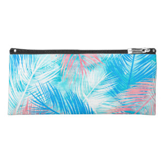 Modern pink blue watercolor palm tree pattern pencil case