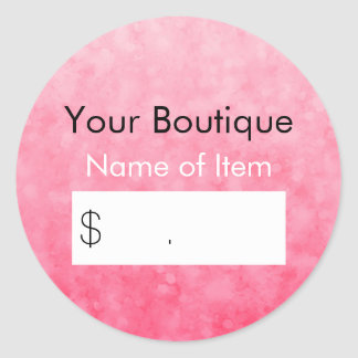 Modern Pink Bokeh Boutique Retail Price Tag Round Sticker