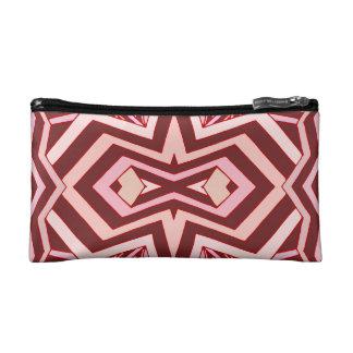 Modern Pink Burgundy Red Geometric Pattern Makeup Bags