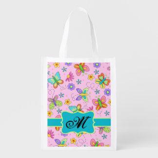 Modern Pink Butterfly Monogram Custom Reusuable Grocery Bag