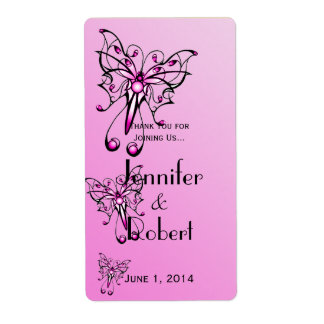 Modern Pink Butterfly on Pink Wine Label Shipping Label