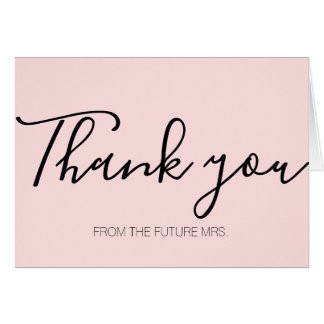 Modern Pink Calligraphy Thank You Card