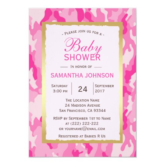 Modern PINK CAMO Baby Shower Invitations - Girl