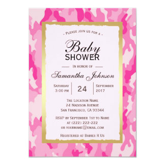 Modern PINK CAMO Baby Shower Invitations - Girl