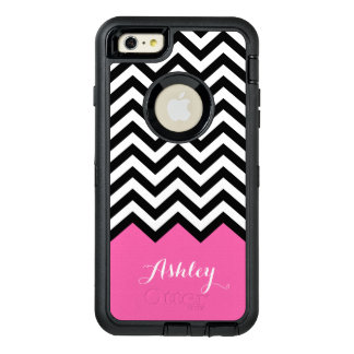 Modern Pink Chevron Pattern Girly Monogram Name OtterBox Defender iPhone Case