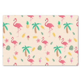 Modern pink colorful watercolor tropical flowers tissue paper
