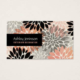 Modern pink coral black floral interior decorator business card