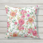 Modern pink coral green watercolor floral roses throw pillow