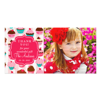 Modern Pink Cupcakes Any Occasion Thank You Photo Card