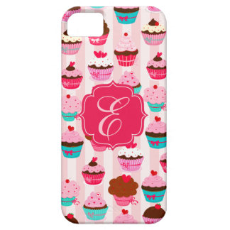 Modern Pink Cupcakes Girly Monogrammed Case For The iPhone 5