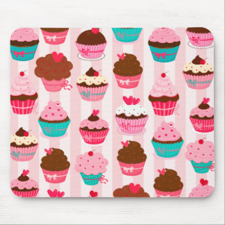 Modern Pink Cupcakes Girly Mouse Pad