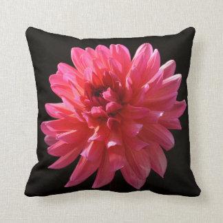 Modern Pink Dahlia on Black - Floral Art Throw Pillow