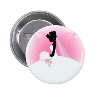 modern pink Elegant bride silhouette bride 2 Inch Round Button