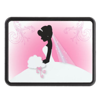 modern pink Elegant bride silhouette bride Tow Hitch Covers
