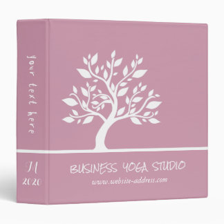 Modern Pink Elegant Classy Tree YOGA Instructor Binders
