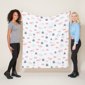 Modern Pink Flamingo Pattern by WhimsicalArtwork™ Fleece Blanket