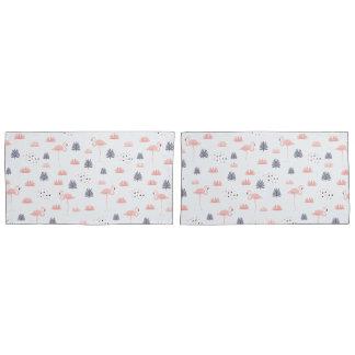 Modern Pink Flamingo Pattern by WhimsicalArtwork™ Pillowcase