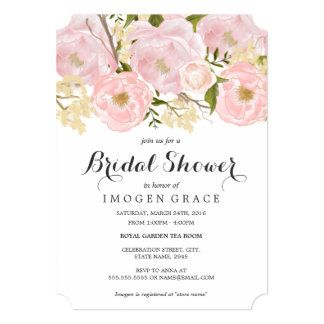 Modern Pink Floral Bridal Shower Invitation