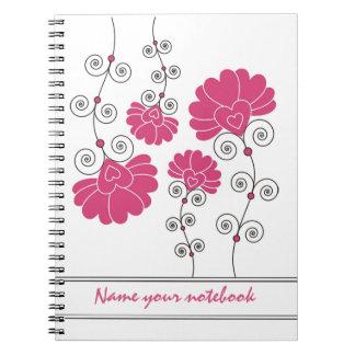 Modern Pink Floral Designer Notebooks
