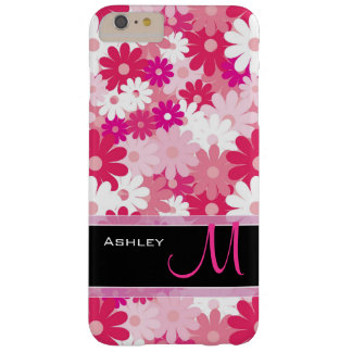 Modern Pink Floral Pattern Daisy Flowers Monogram Barely There iPhone 6 Plus Case