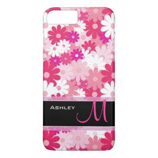Modern Pink Floral Pattern Daisy Flowers Monogram iPhone 7 Plus Case