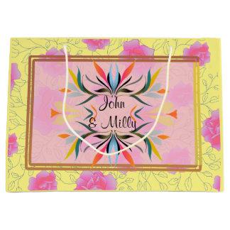 Modern Pink Floral pattern monogram wedding Large Gift Bag