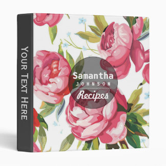 Modern Pink Floral Personalized Cookbook Recipe Vinyl Binder