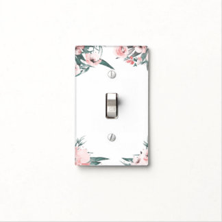 Modern Pink Floral Watercolor Chic Elegant Tropics Light Switch Cover