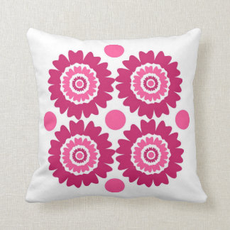 Modern Pink Flowers And Polka Dots Throw Pillow