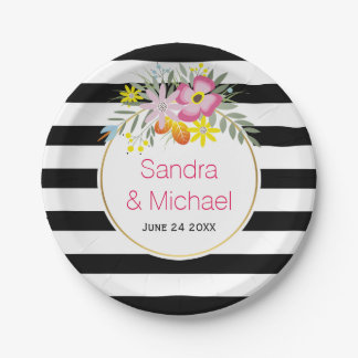 Modern pink flowers and stripes floral wedding paper plate