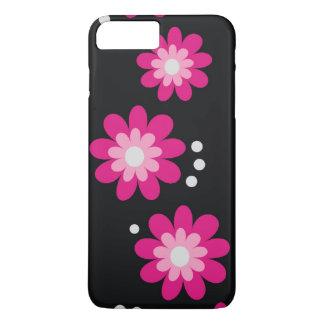 Modern Pink Flowers On Black iPhone 7 Plus Case