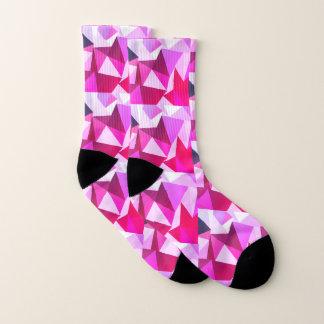 Modern Pink Geometric Pyramids Socks